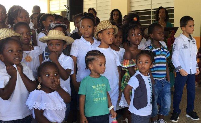 Les élèves de l'Ecole Alain-Plénel en 2016, le jour de la dénomination