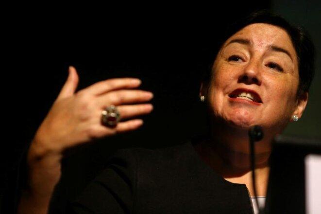 Beatriz Sánchez, lors d'une conférence à Santiago, en août 2017. © Reuters