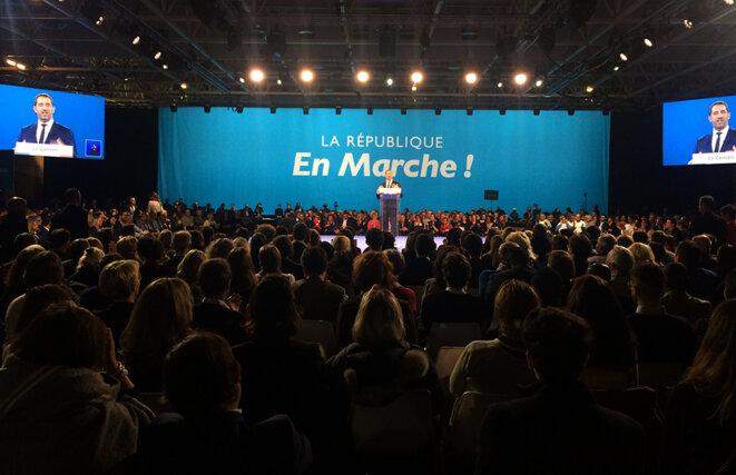 Christophe Castaner pendant son discours, à Lyon en novembre 2017, lors de sa désignation comme délégué général de LREM. © ES