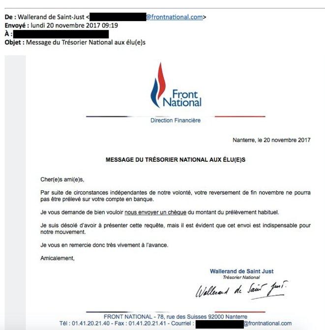 Email envoyé par Wallerand de Saint-Just aux élus du FN. © Document Mediapart