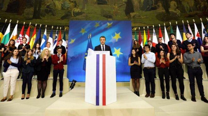 Emmanuel Macron à la Sorbonne le 26 septembre © Reuters