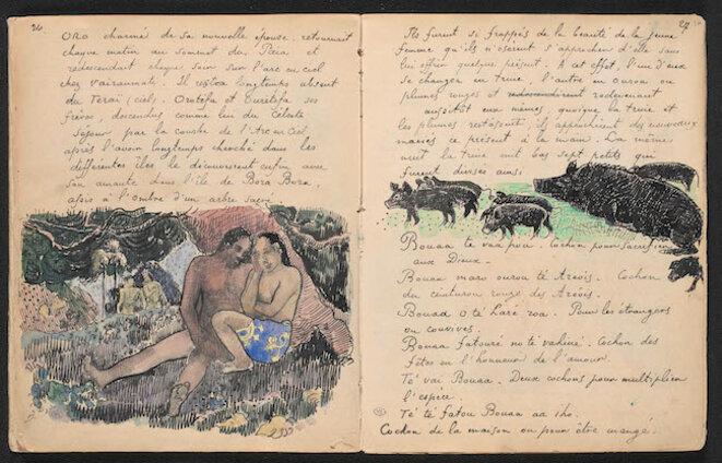 Double page 26-27 du manuscrit Ancien Culte mahorie de Paul Gauguin, vers 1892. © Photo RMN-Grand Palais (musée d'Orsay) / Hervé Lewandowski
