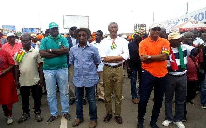 Les leaders de la coalition CAP2015, Groupe des Six, Car, Pnp, Santé du Peuple, au départ de la manifestation du 17 novembre 2017 à Bè-Gakpoto
