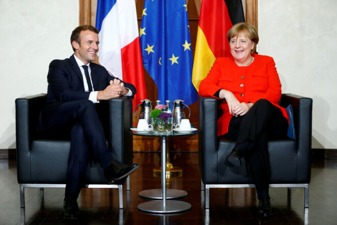 Emmanuel Macron et Angela Merkel lors de la Foire du livre de Francfort, le 11 octobre © Reuters