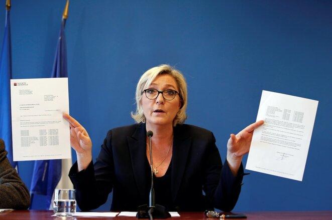 Marine Le Pen lors de sa conférence de presse, le 22 novembre 2017. © Reuters