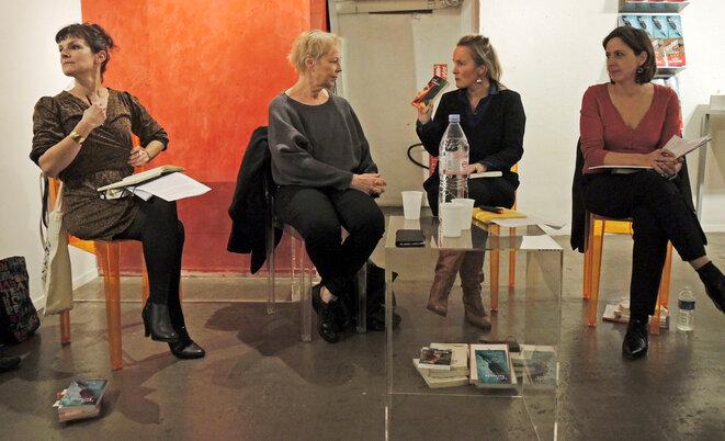 Anne Delaplace, Marine Jubin, Stéphanie Perrin (les filles du loir) avec Lydie Salvayre, le 17 novembre 2017 Paris © Gilles Walusinski