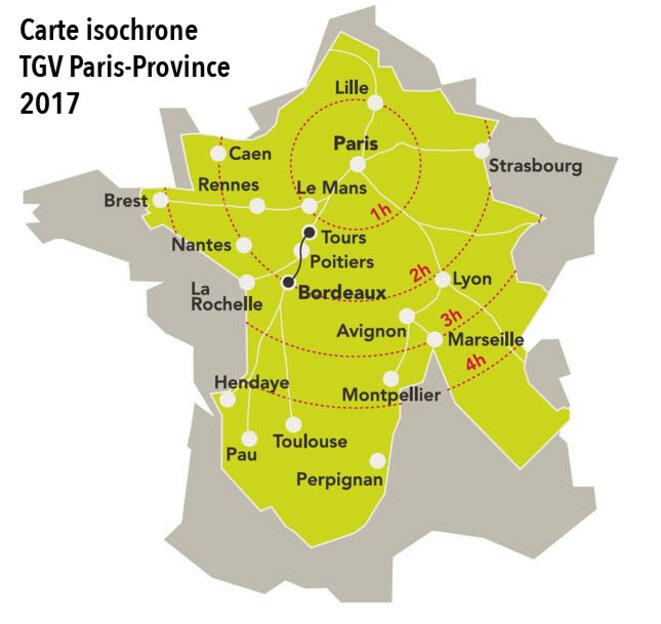 Carte isochrone TGV Paris-Province 2017