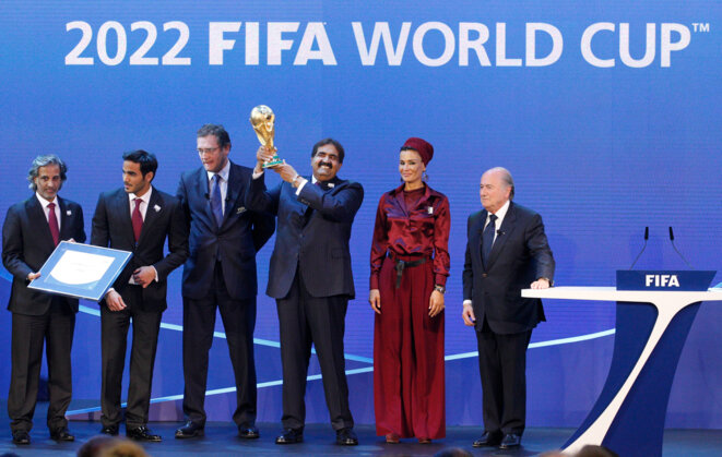 The celebrations after FIFA announced on December 2nd 2010 that Qatar would host the 2022 World Cup. © Reuters