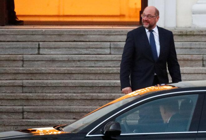 Martin Schulz, à la sortie de sa rencontre avec le président Frank-Walter Steinmeier, le 23 novembre 2017 à Berlin © Reuters / Hannibal Hanschke
