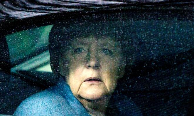 Angela Merkel à l'arrivée d'une réunion à Bruxelles le 24 novembre 2017 © Reuters.