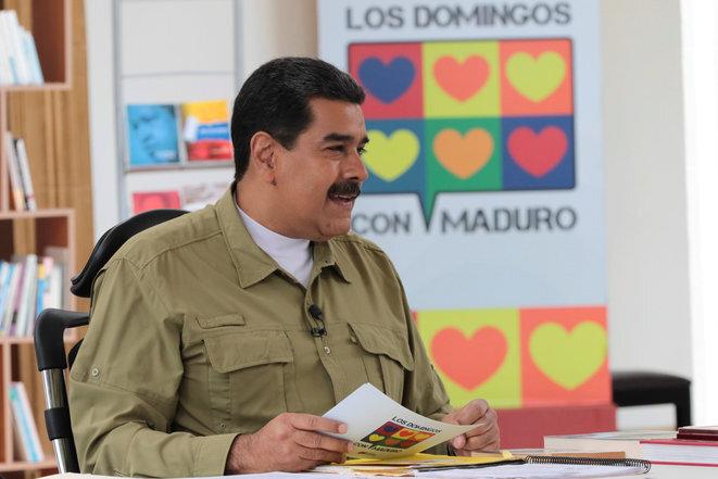 El presidente Maduro durante su discurso televisado el domingo 12 de noviembre de 2017. © Reuters