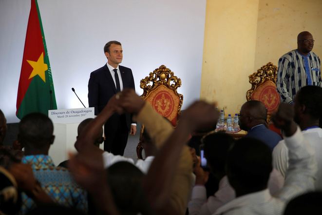 Emmanuel Macron speaking at the University of Ouagadougou in Burkina Faso on Tuesday November 28th, 2017. © Reuters