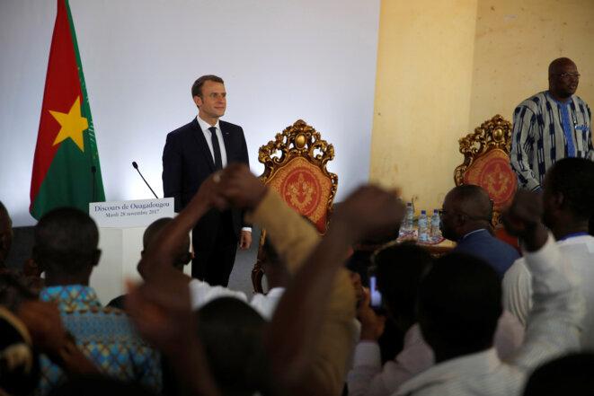 Emmanuel Macron speaking at the University of Ouagadougou in Burkina Faso on Tuesday November 28th, 2017. © Reuters