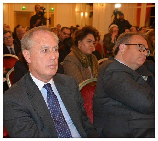 Bertrand Besancenot ( ambassadeur et envoyé spécial d'Emmanuel Macron au Moyen-Orient) Thierry Paul Valette ( porte-parole du Club Géopolitique ) Ibrahime Sorel Keita ( Vice-Président du Club Géopolitique )
