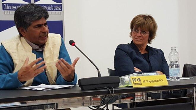 Rajagopal et Isabelle Durant au club de la presse © Benjamin Joyeux