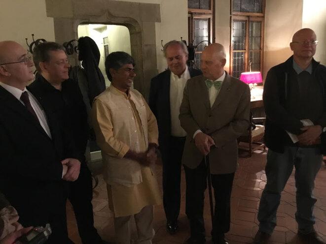 Rajagopal accueilli par le Président du Grand Conseil Eric Leyvraz © Benjamin Joyeux