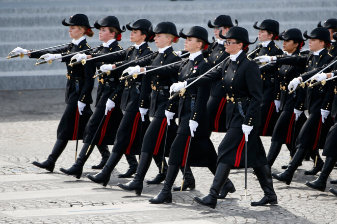 Students from the École  Polytechnique during a Bastille Day parade. © Reuters