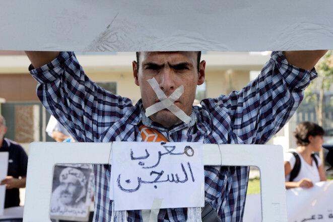 Manifestation en faveur des prisonniers aux abords du tribunal de Casablanca, le 12 septembre 2017. © Reuters