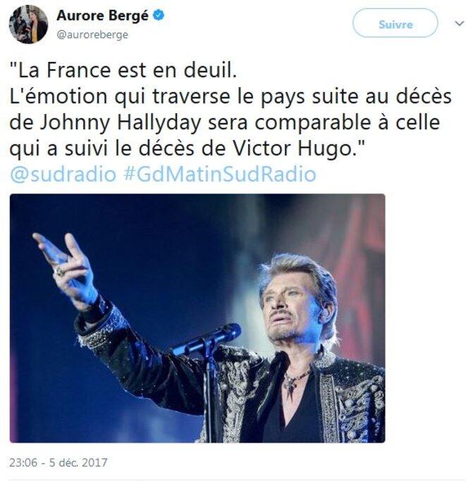 Tweet d'Auroe Berger, sans excès #ouPresque. © @auroreberge