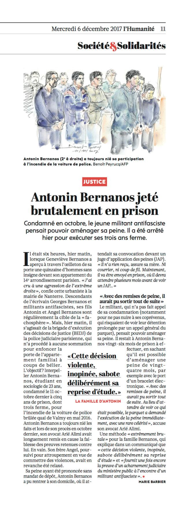 Article de L'Humanité du 6 décembre 2017 - Antonin jeté brutalement en prison