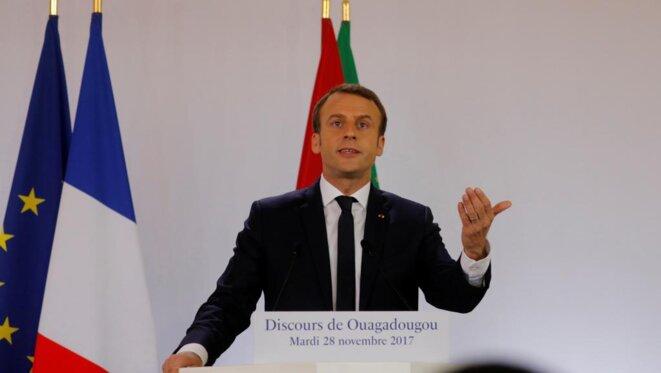 Emmanuel Macron lors de son discours à Ouagadougou, le 28 novembre 2017. © Reuters