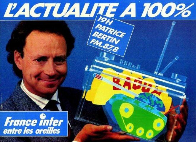 Patrice Bertin en 1985, dans une publicité pour France Inter © D.R.