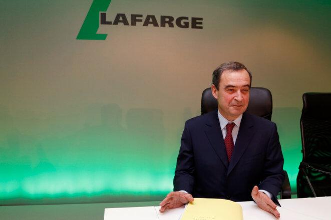 Bruno Lafont, ancien PDG de Lafarge, mis en examen pour « financement du terrorisme », le 18 février 2015. © John Schults/Reuters