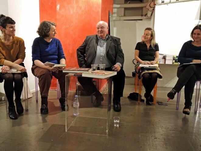 Anne Delaplace, Isabelle Leclerc, Marine Jubin, Stéphanie Perrin avec Michel Pastoureau, Paris 7 décembre 2017 © Gilles Walusinski