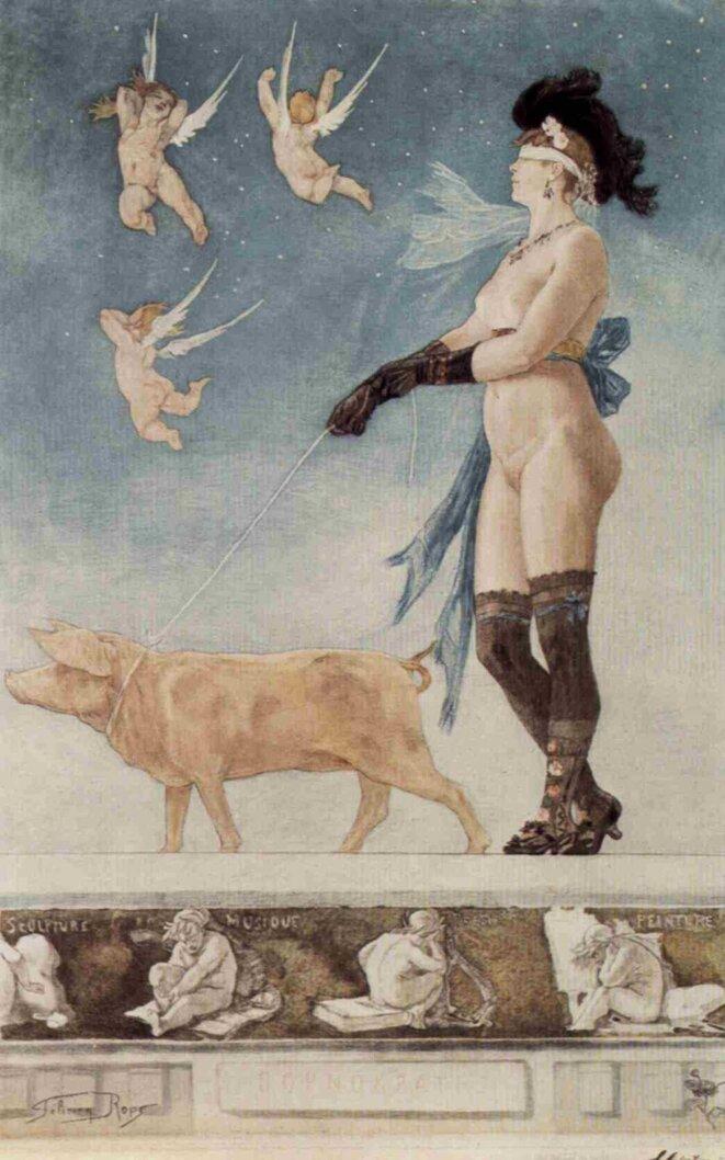 La Dame au cochon – Pornokrates © Félicien Rops, 1878