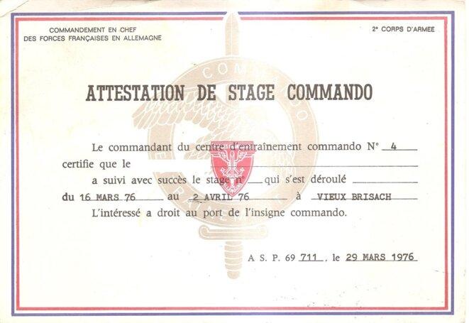 Attestation entrainement commando © CEC 4