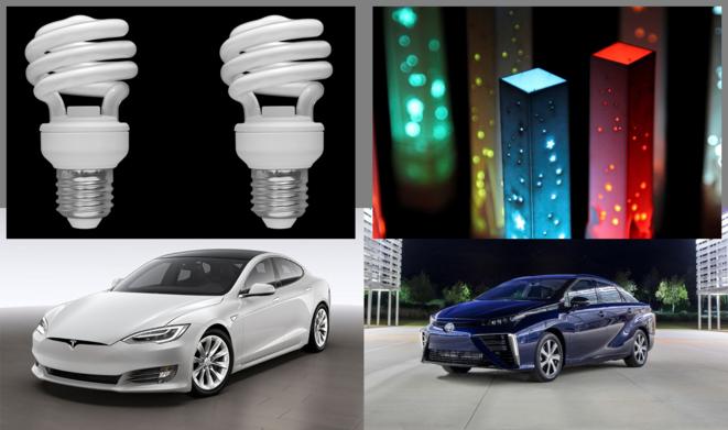 Tesla=fluocompactes vs. Mirai=LEDs © Montage par Jean-Lucien Hardy, Mediapart (photo LEDs par Jared Tarbell sous licence Creative Commons)