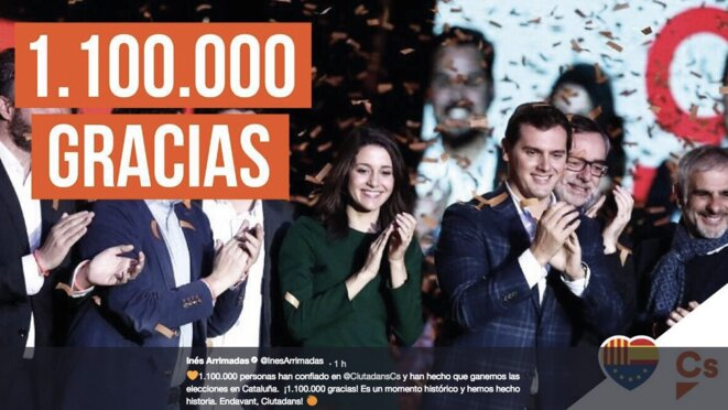 Sur leur compte Twitter, tract de fin de campagne d'Inés Arrimadas et Albert Rivera (Ciudadanos)