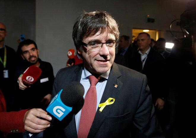 Carles Puigdemont à Bruxelles le 21 décembre au soir, après l'annonce des résultats © Reuters / François Lenoir.