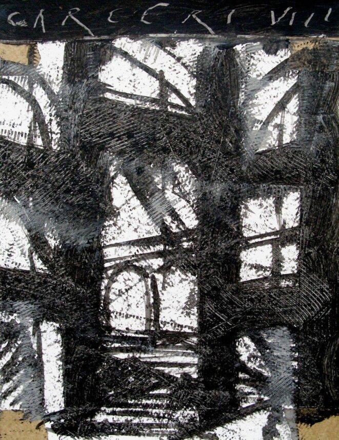 J-P. Rodrigo, « Carcere VIII, 4 », peinture, 16/04/12 © J-P. Rodrigo