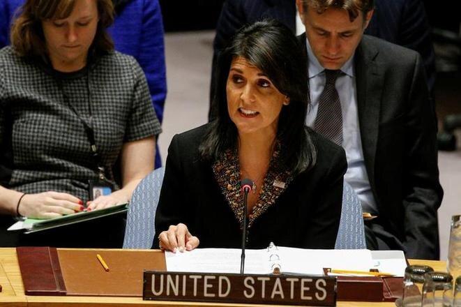 Nikki Haley, embajadora de Estados Unidos en la ONU, defendiendo la posición estadounidense durante la votación del 18 de diciembre de 2017 sobre Jerusalén. © Reuters
