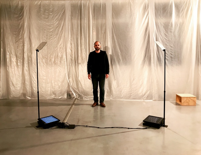"""Vue de l'exposition """"Prophet's time"""" de Jean-Benoît Lallemant, Galerie municipale Julio Gonzalez, Arcueil, nov.-dec. 2017 © Guillaume Lasserre"""