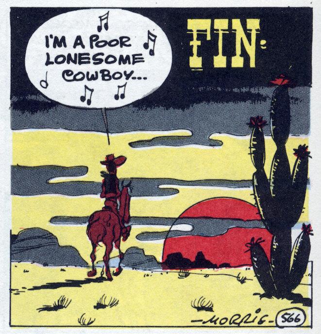 Une case de fin d'un album « I'm a poor lonesome cowboy ». Crédit : © Lucky comics, 2017