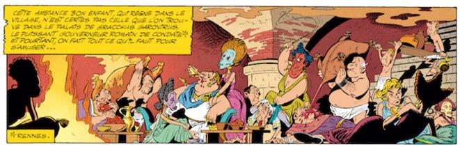 Dans Astérix chez les Helvètes (1970), Goscinny et Uderzo transposent la scène de l'orgie romaine du Satyricon de Fellini. © Editions Albert René