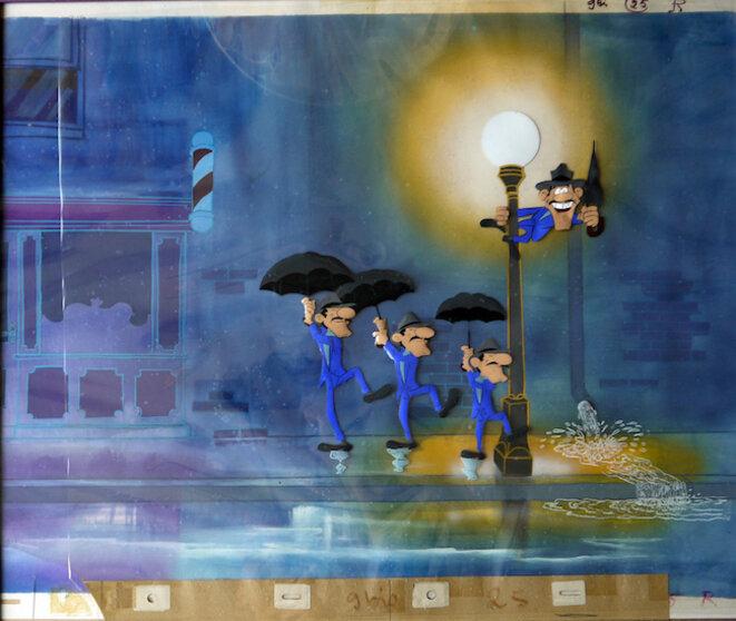 Cellulo. Dans La Ballade des Daltons (le rêve de Joe), en 1978, Goscinny et Morris transposent une scène de Chantons sous la pluie de Stanley Donen, 1952. Crédit : La Ballade des Daltons, Co-production DARGAUD Productions/RENÉ GOSCINNY productions / IDEFIX Studio ©Productions Dargaud Films – Paris / René Goscinny / Morris. Tous droits réservés.