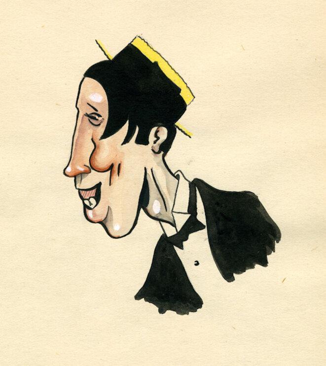 Fernandel. Ces caricatures ont été dessinées par René Goscinny entre 1950 et 1954 pour l'hebdomadaire belge Le Moustique. Elles témoignent de sa fascination pour le cinéma. Crédit : © René Goscinny