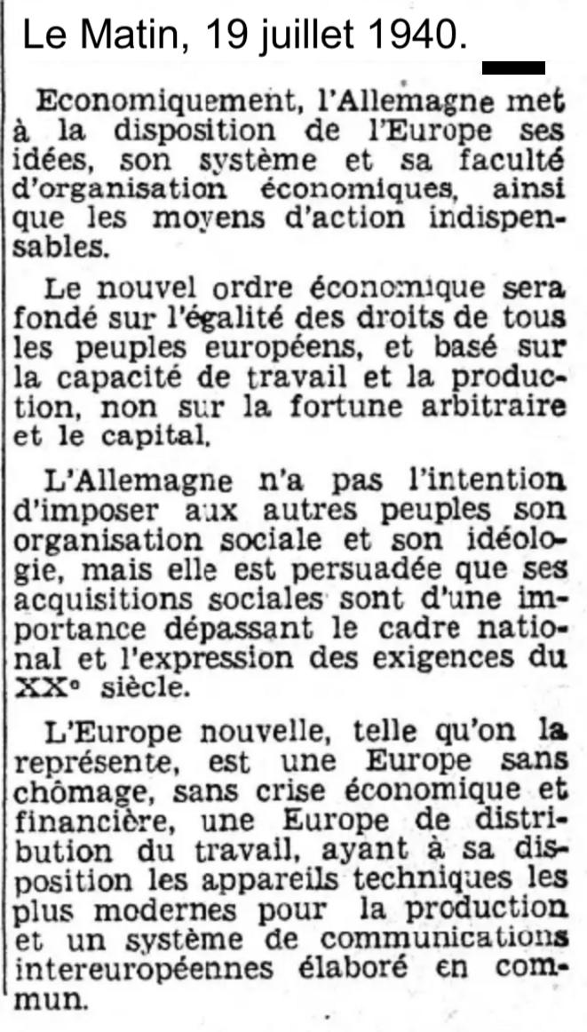 Le Matin, 19 juillet 1940, la presse allemande jette les bases d'une Europe nouvelle