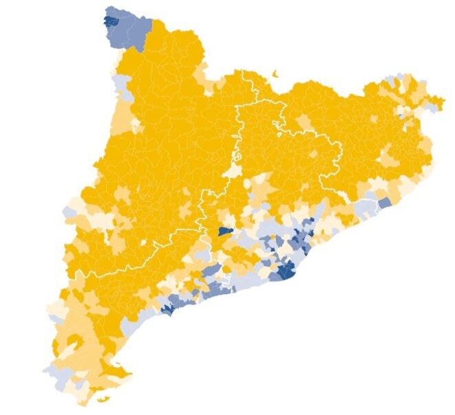 En jaune, la Catalogne indépendantiste © El Diario.