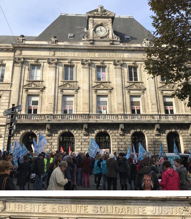 Bourse du Travail de Saint-Etienne. Au fronton : Liberté, Égalité, Solidarité, Justice [Photo YF]