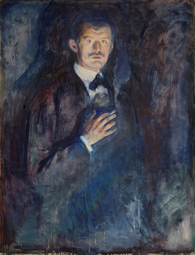 Self-Portrait with Cigarette (1895) - Oil on canvas © Artists Rights society, New York - Nasjonalmuseet, Oslo - Photo: Børre Høstland
