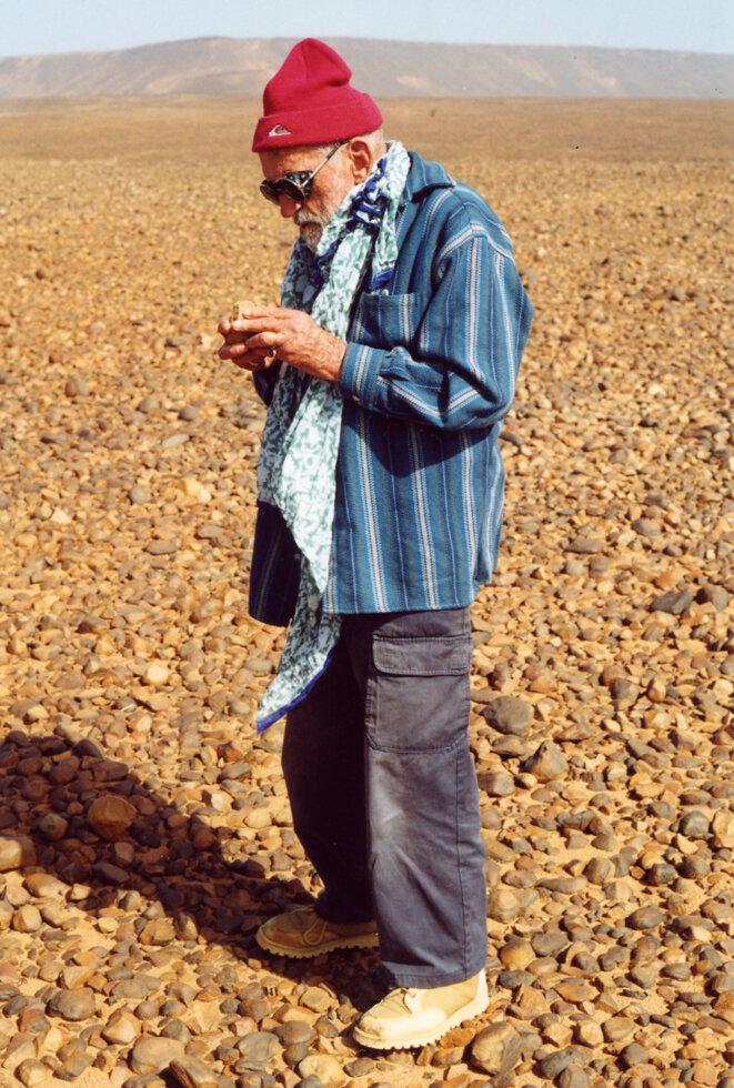 Théodore Monod en Mauritanie en 1998 © Bruno Lecoquierre