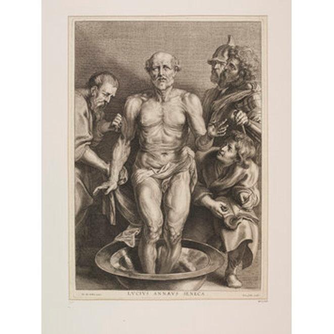 La mort de Sénèque, gravure de Cornelis Galle, c. 1610, d'après Rubens, The Victoria & Albert Museum, London