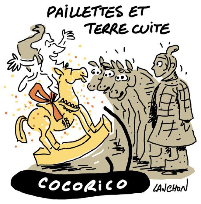 Macron cherche à impressionner la Chine par un fringant cheval de la garde Républicaine. © Agnès Lanchon