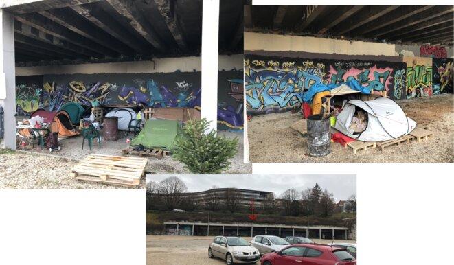 Campement de migrants et réfugiés, parking d'Arènes à Besançon le 27 décembre [Photos YF]