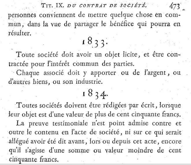 Extrait du code Napoléon de 1804 © Gallica