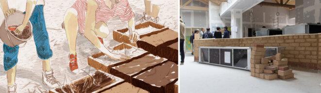 Fabrication de brique de terre crue par les habitants de Rosny pour les cloisons de l'école © Ville de Rosny + fair